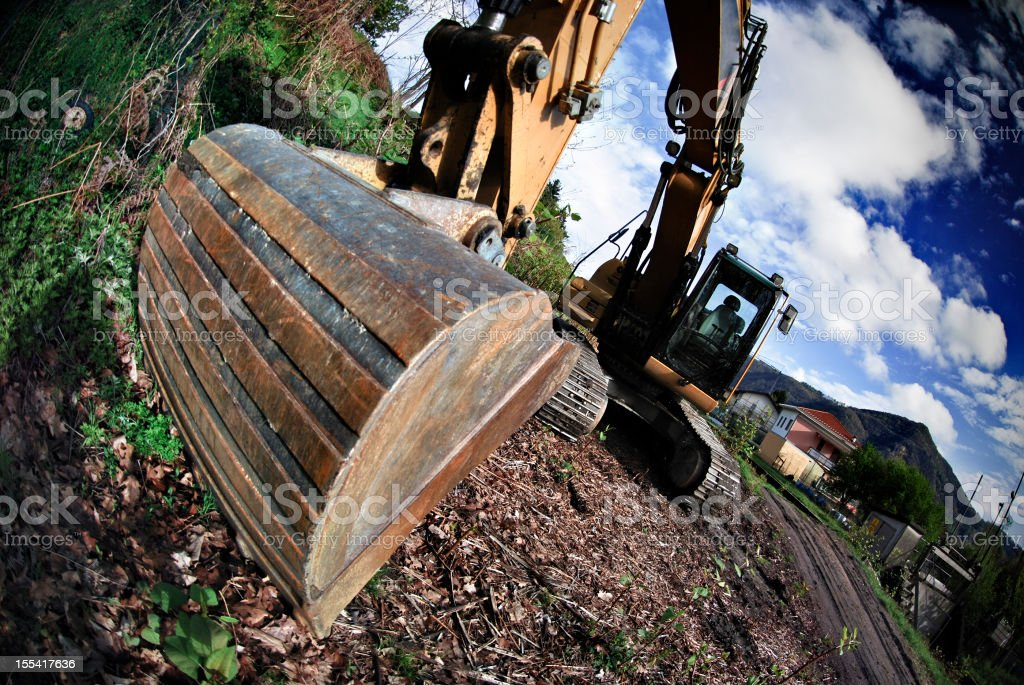 Fisheye excavator stock photo