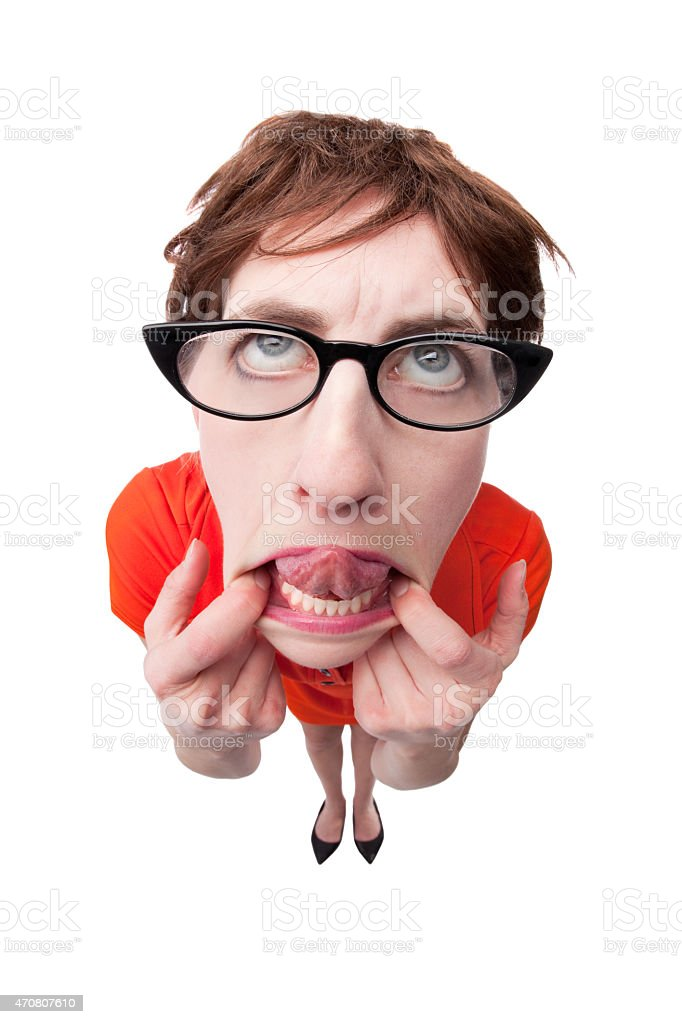 Fisheye Geeky Woman Making Silly Face stock photo