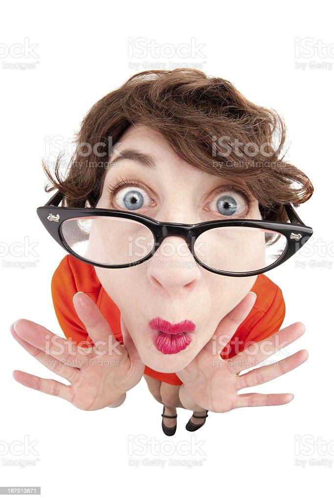 Fisheye Happy Geek Woman royalty-free stock photo