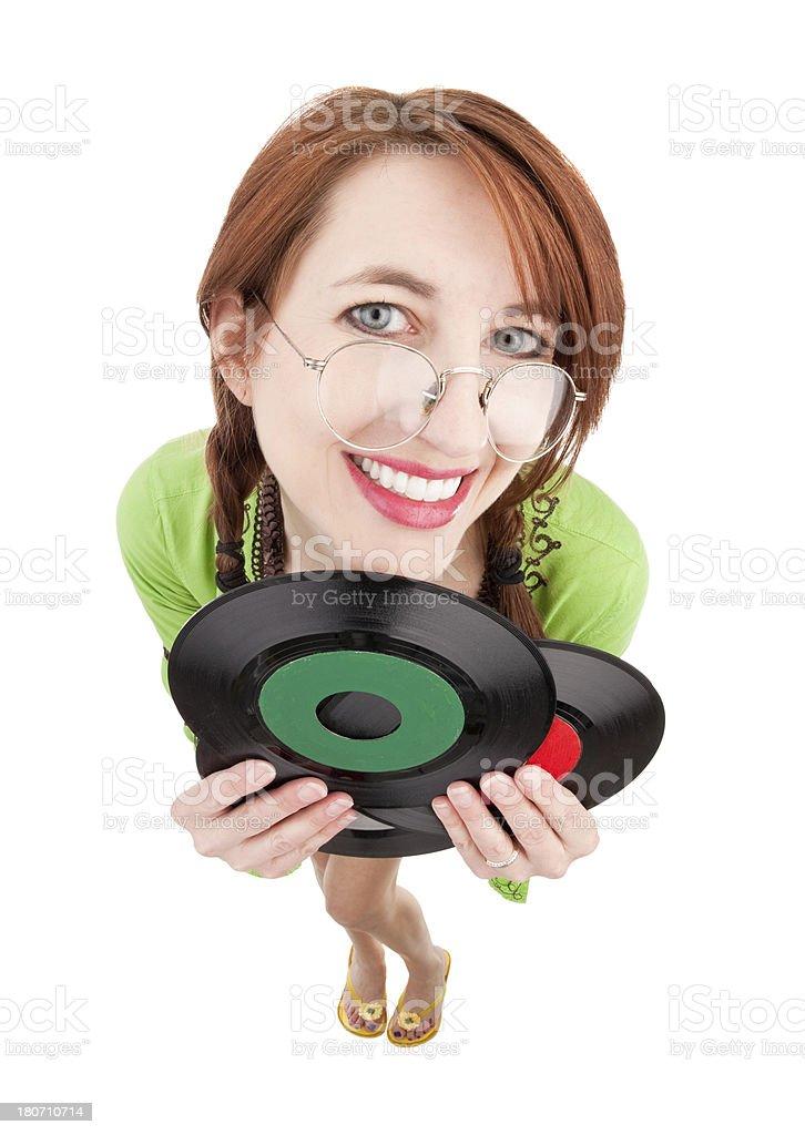 Fisheye Hippie Woman Holding Records royalty-free stock photo