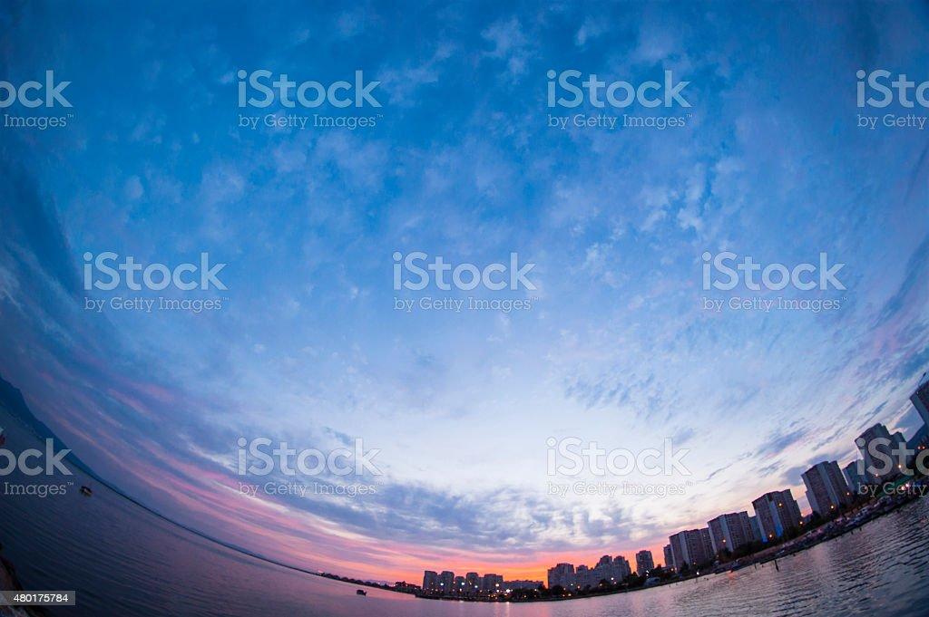 Fisheye landscape stock photo