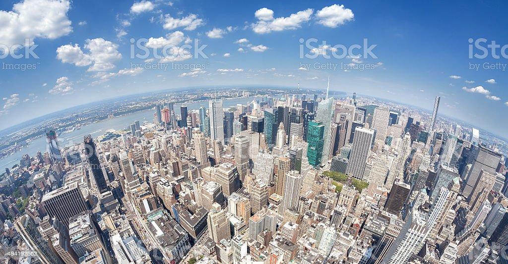 Fisheye lens aerial view of Manhattan, New York, USA. stock photo