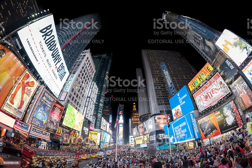 Fisheye lens photo of Times Squares at night. stock photo