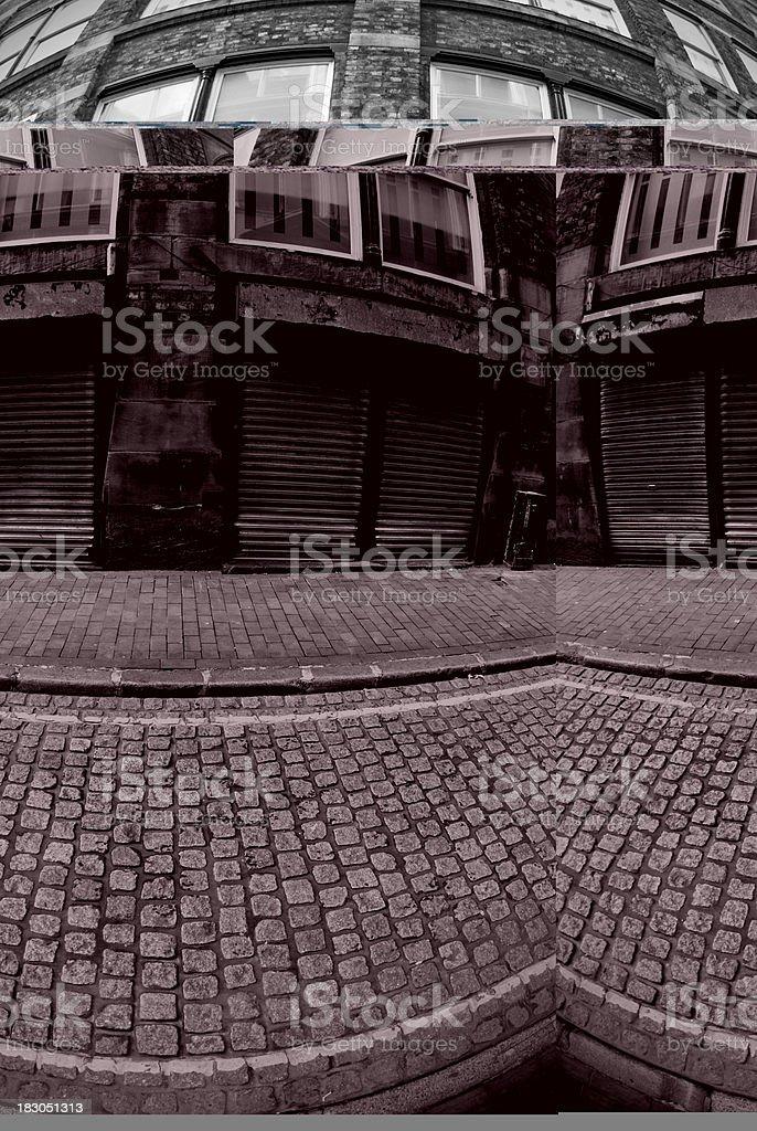 Fisheye Liverpool scene - Black and white stock photo