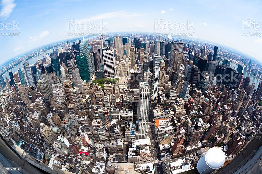 Fisheye Manhattan View stock photo