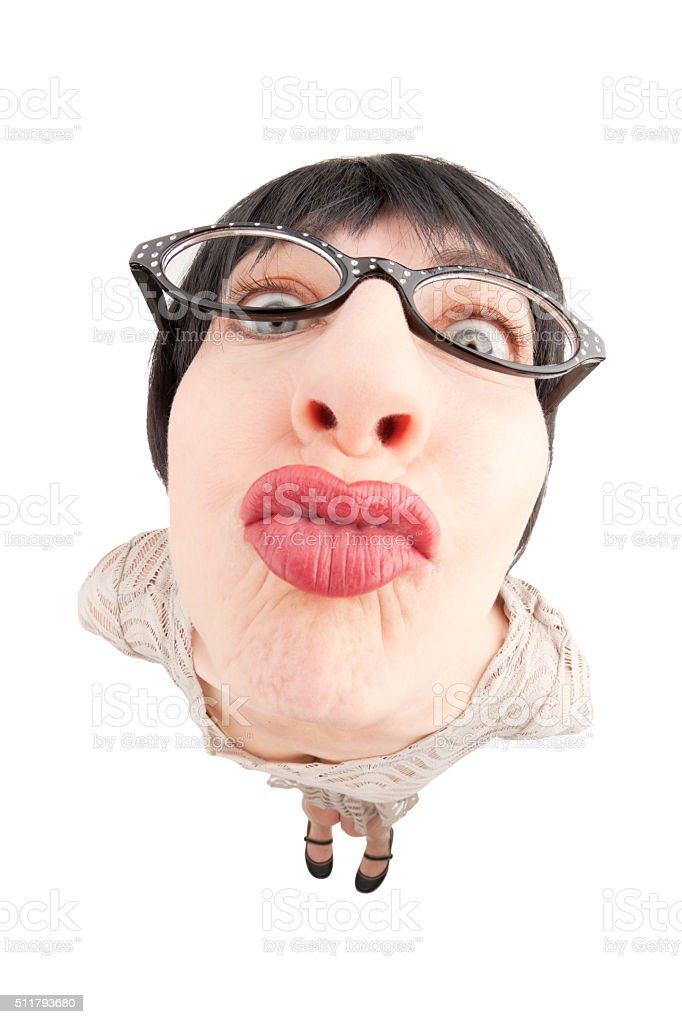 Fisheye Nerdy Woman Puckering For Kiss stock photo