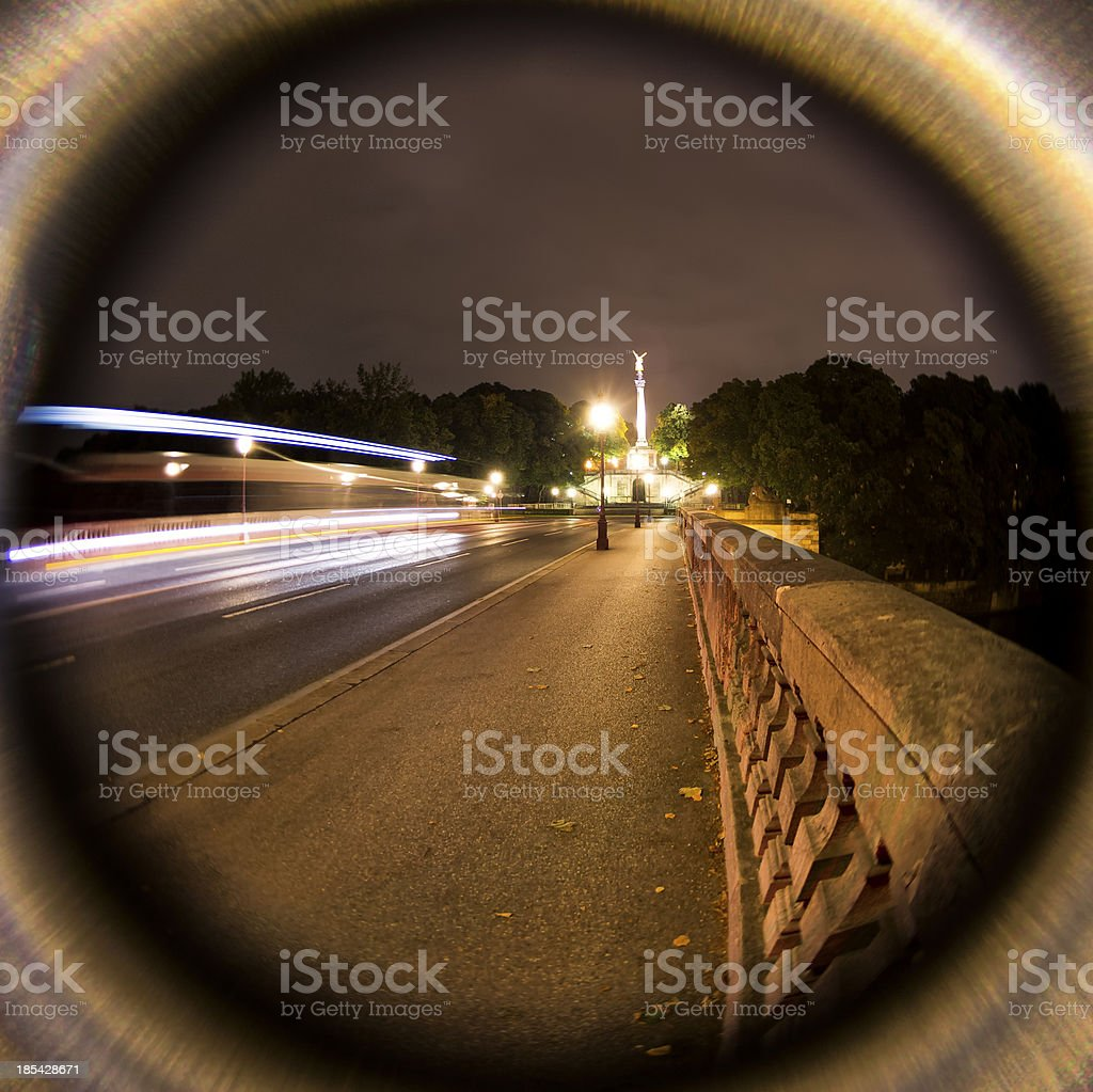 Fisheye Night View of Munich, Germany stock photo