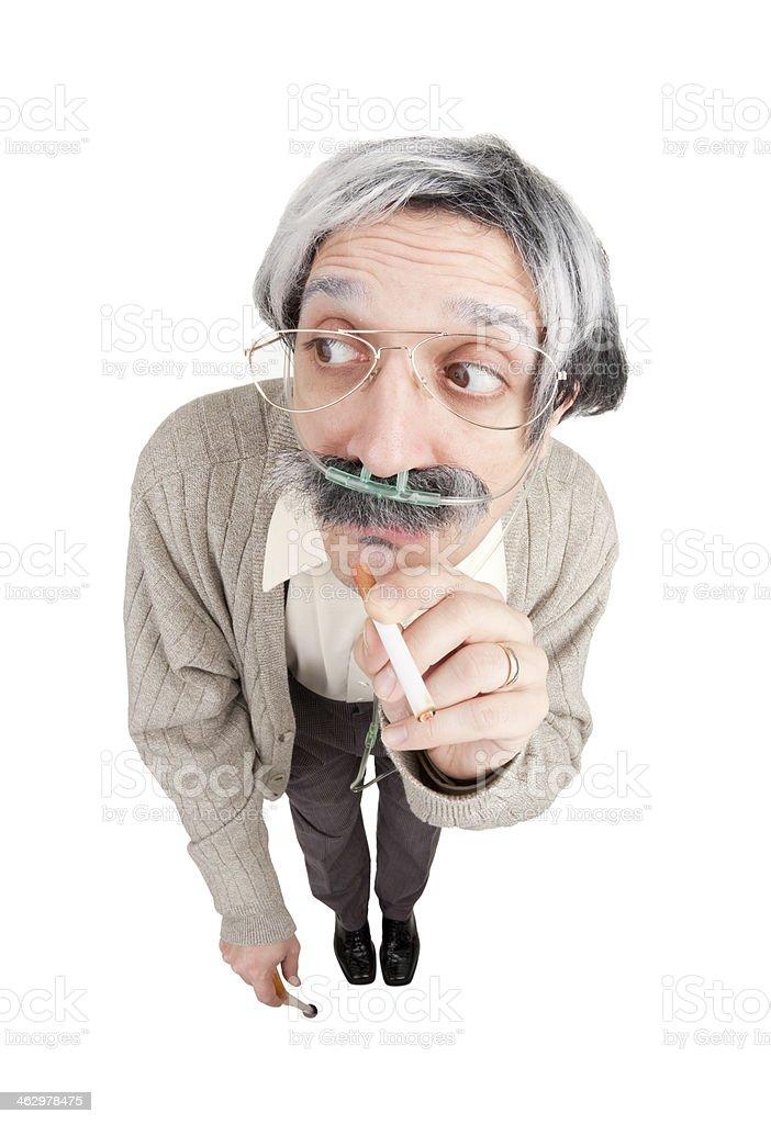 Fisheye Old Man Sneeking Cigarette While On Oxygen royalty-free stock photo