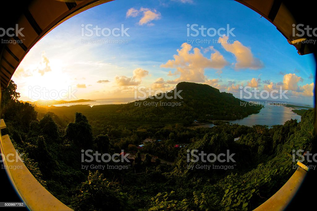Fisheye panoramic view of an tropical island stock photo