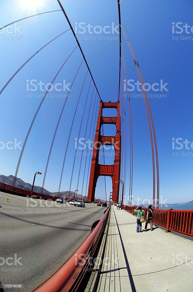 Fisheye photo of the Golden Gate stock photo