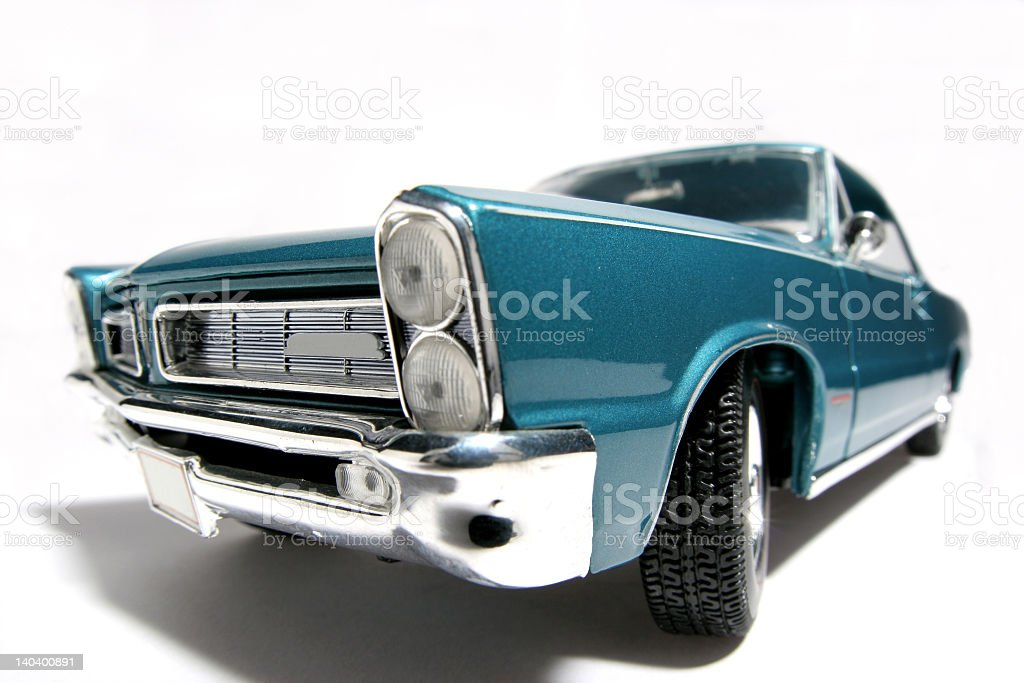 Fisheye picture of 1965 scale classic US toy car stock photo