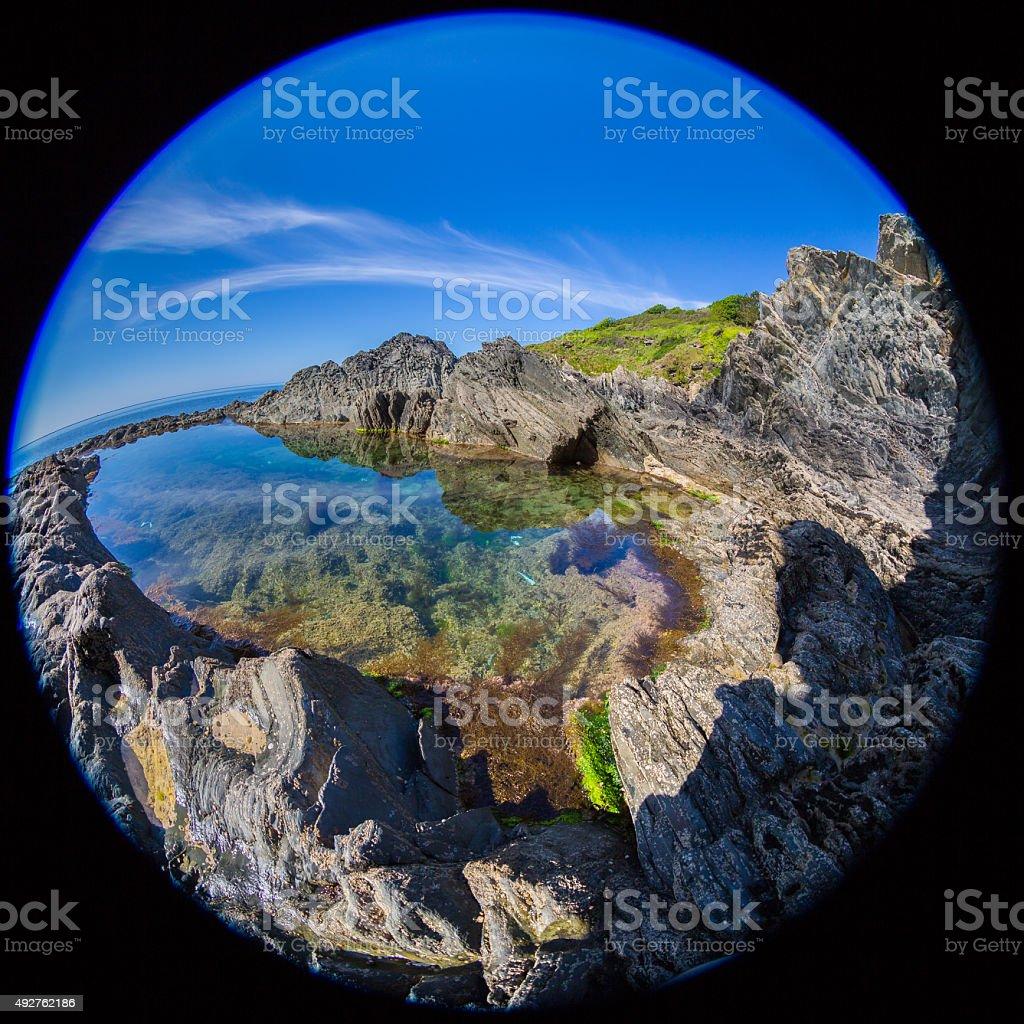 Fish-eye Rock Pool stock photo