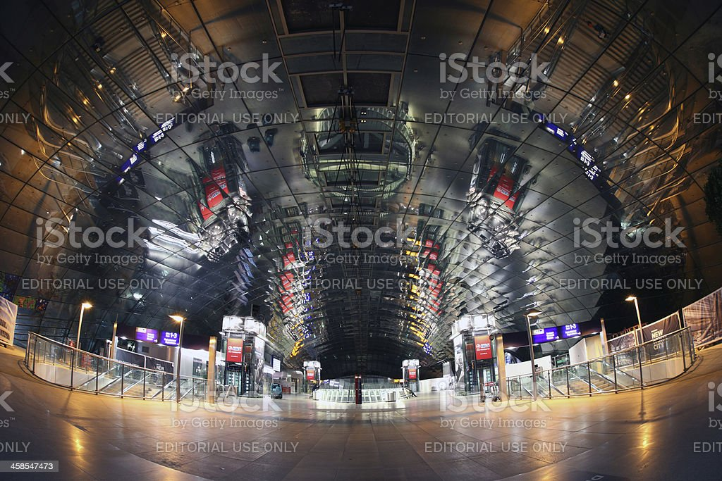 Fisheye shot of train station at night royalty-free stock photo