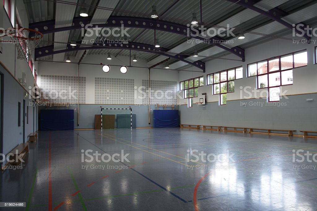 Fisheye shot of very small gym stock photo