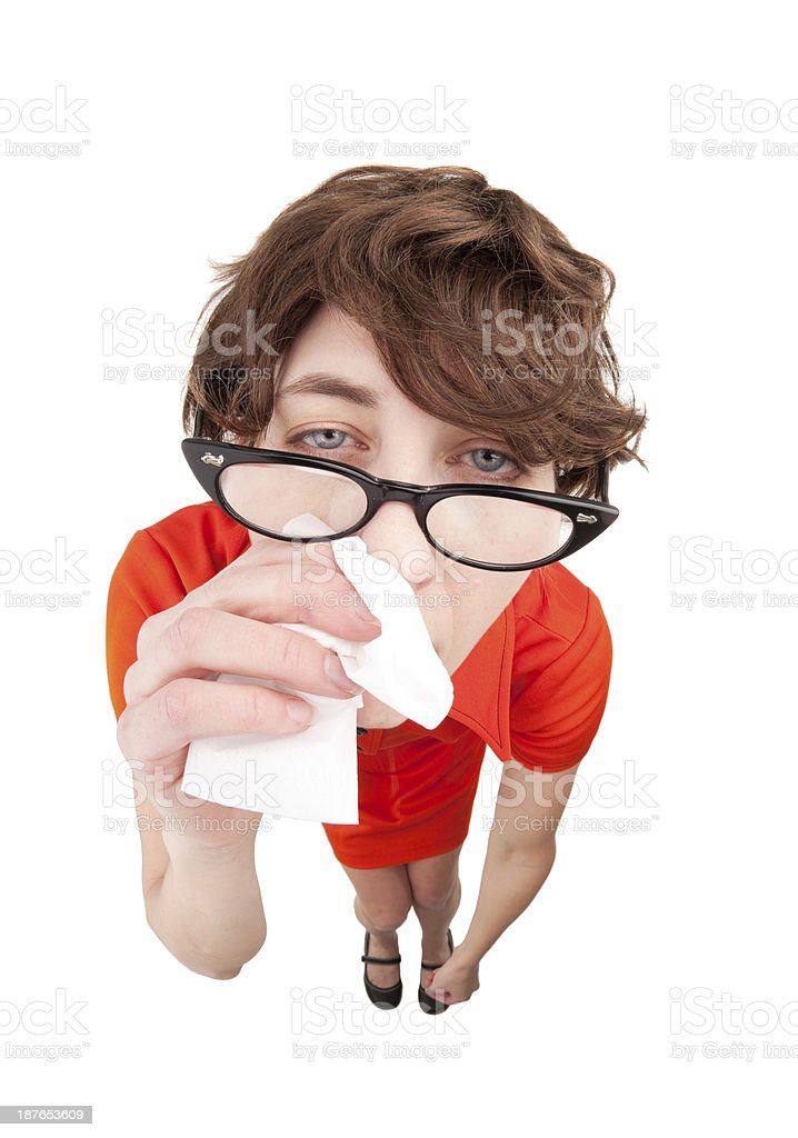 Fisheye Sick Woman Wiping Nose With Tissue royalty-free stock photo