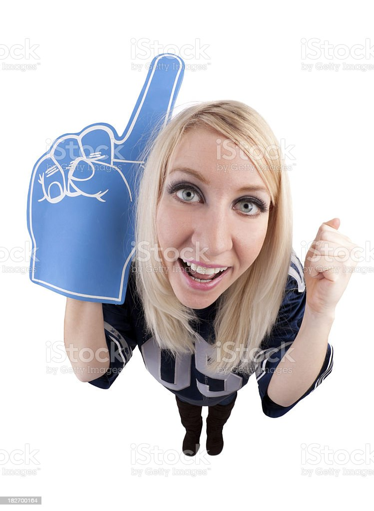 Fisheye Sports Fan With Foam Finger royalty-free stock photo