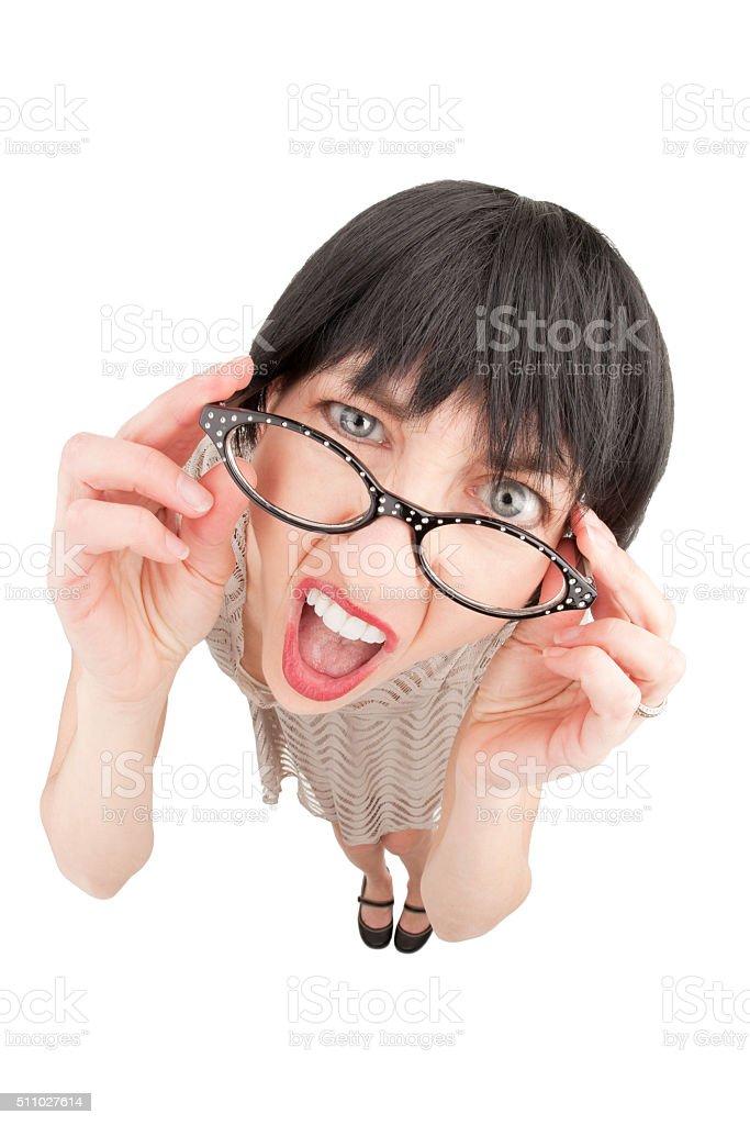 Fisheye Surprised Annoying Woman stock photo
