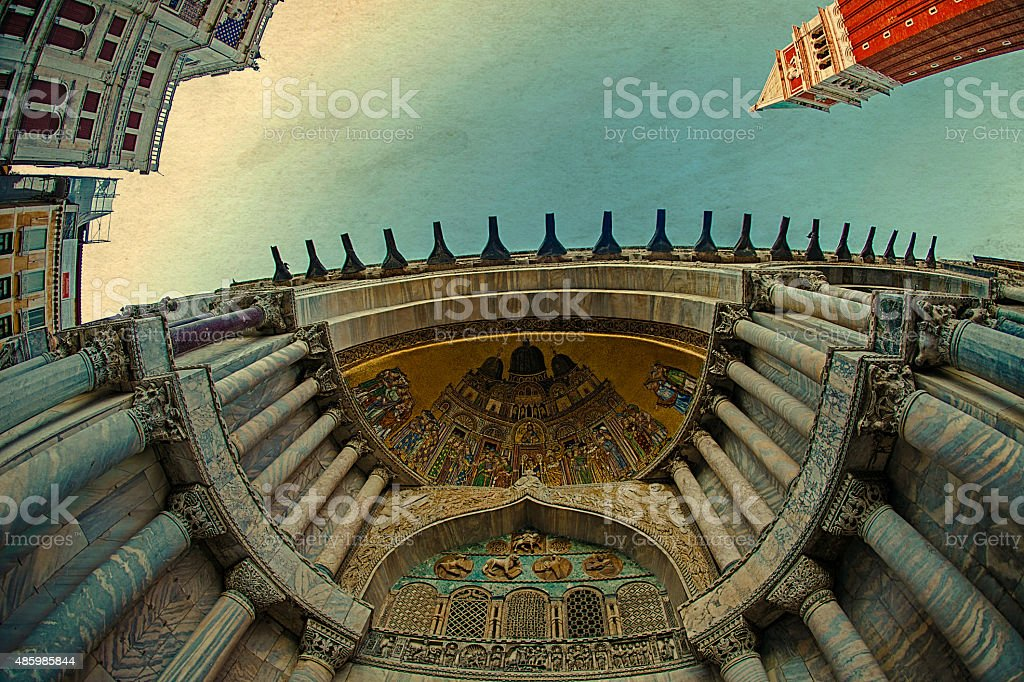Fisheye view at Cathedral of San Marco stock photo