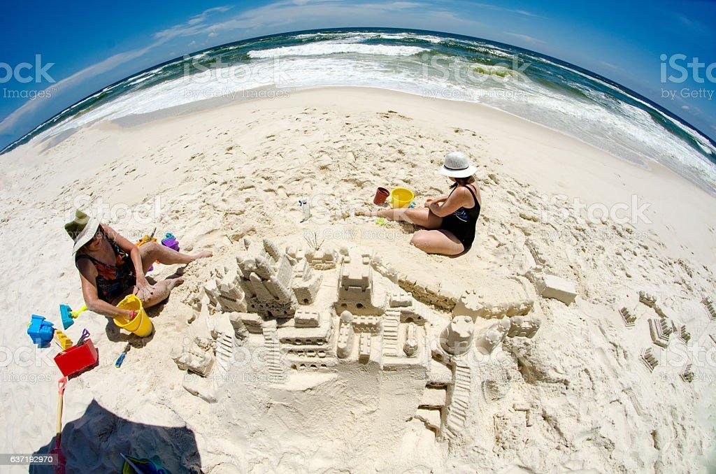 Fisheye View Building a Sandcastle stock photo