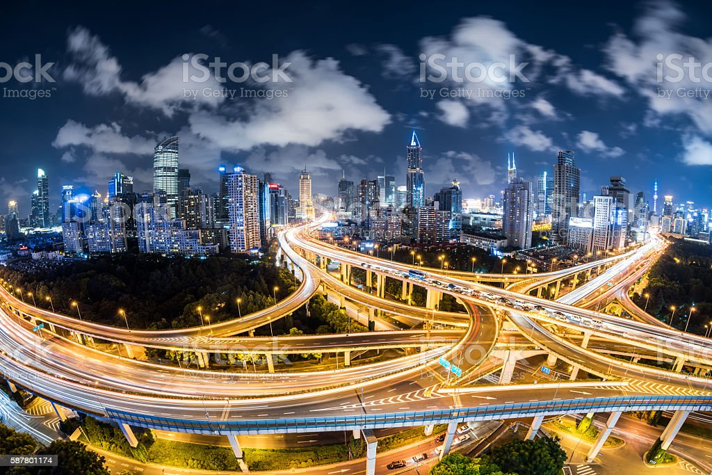 Fisheye View of a Road Intersection at Night stock photo
