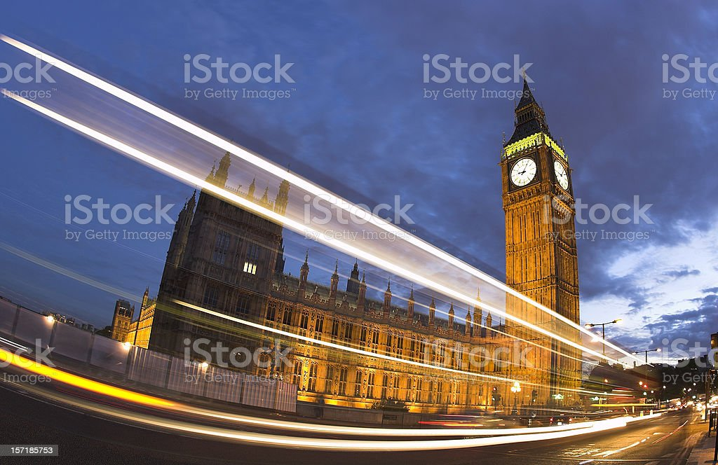 Fisheye view of Big Ben and Westminster at dusk royalty-free stock photo