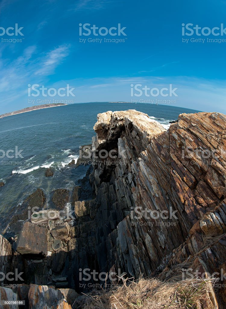 Fisheye view of Cape Elizabeth, on the coast of Maine stock photo