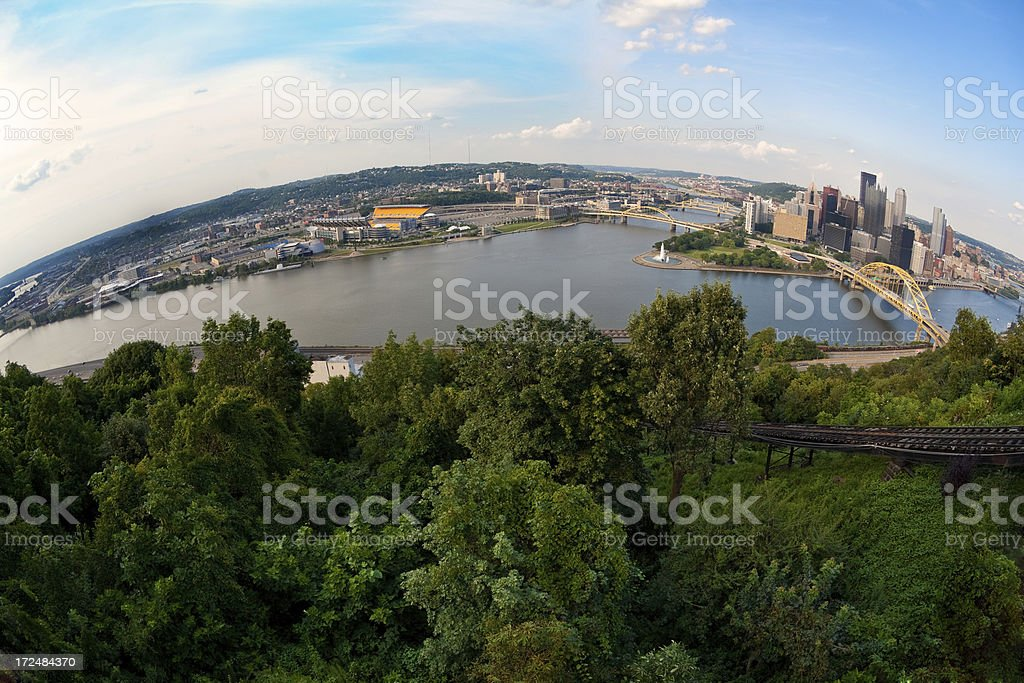 Fisheye View of Downtown Pittsburgh and North Shore stock photo