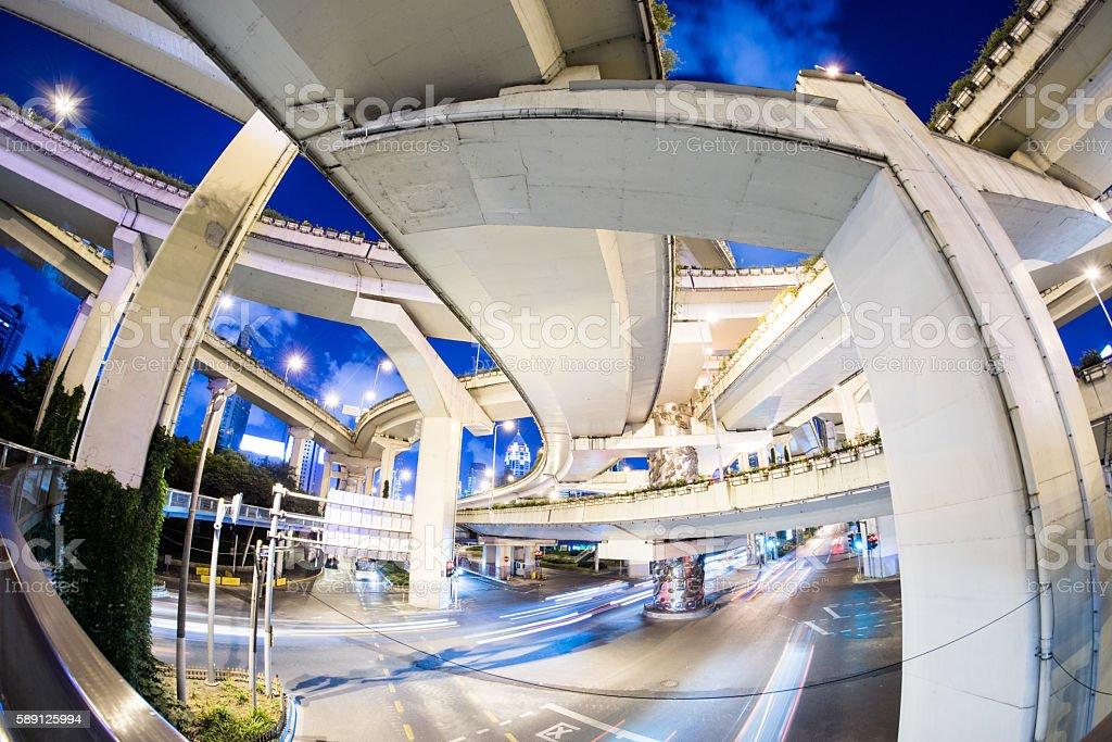 Fisheye View of Elevated Roads at Night stock photo