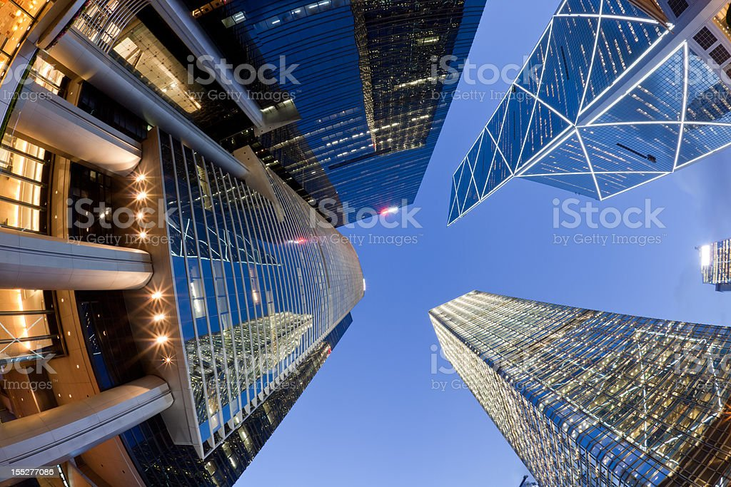 Fisheye view of Hong Kong skyscrapers taken from street stock photo