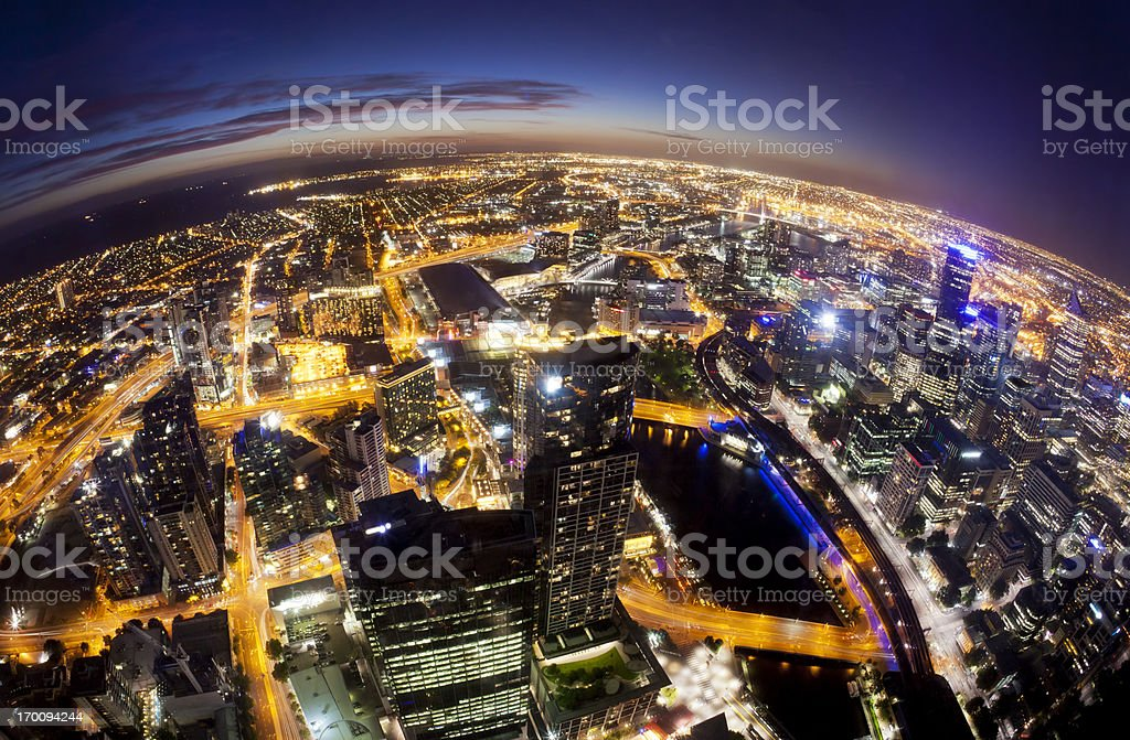 Fisheye view of Melbourne cityscape at night stock photo