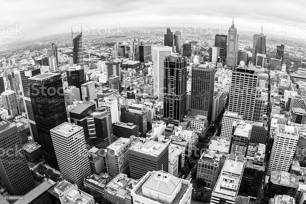 Fisheye view of Melbourne stock photo