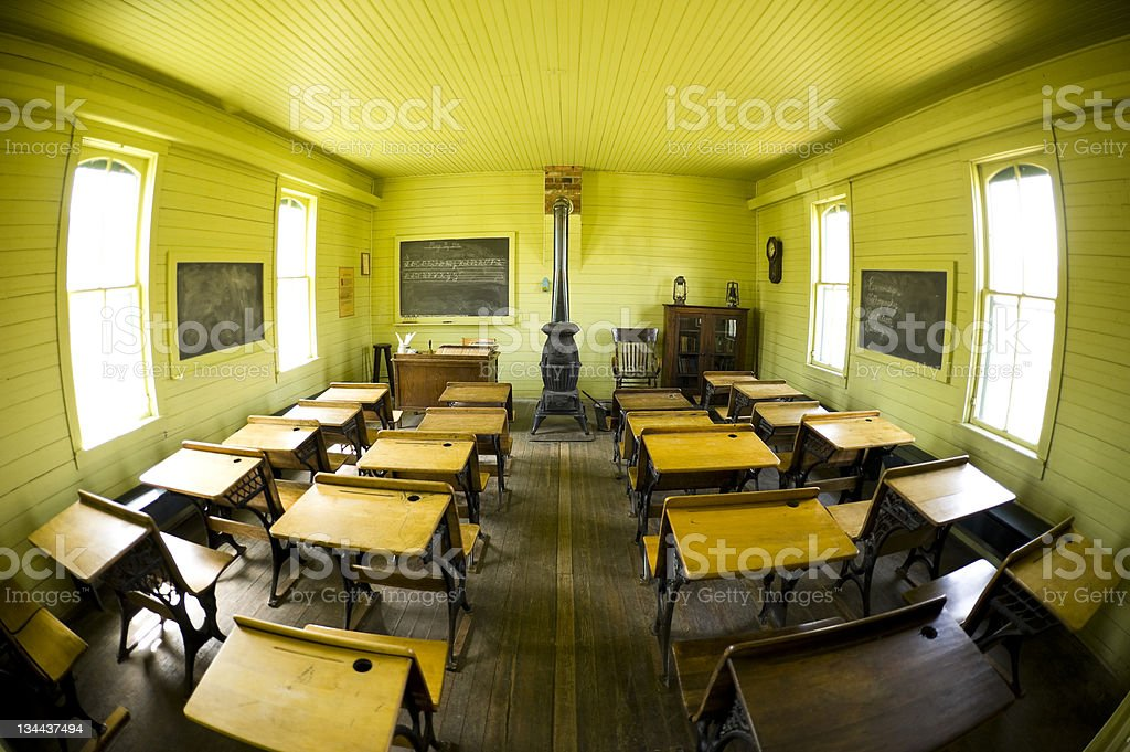 Fisheye View of Old Schoolroom with Desks and Wood Stove royalty-free stock photo