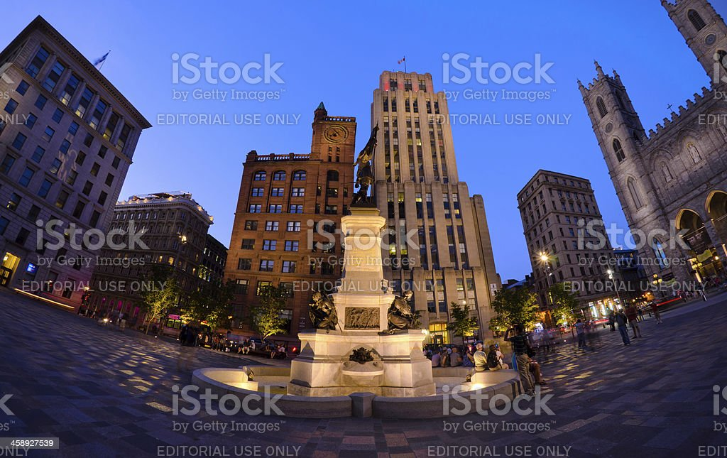 'Fisheye view of Place d'Armes in Montreal, Quebec' stock photo