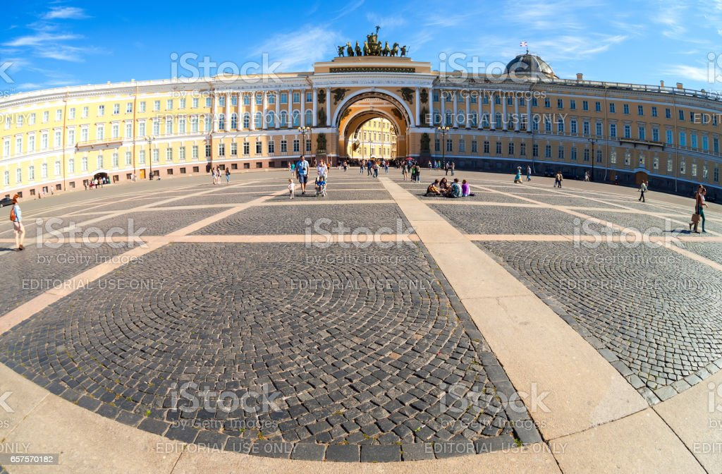 Fisheye view of Saint Petersburg.  Panorama of Palace Square and General Staff Building stock photo