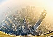 fisheye view of shanghai at sunrise
