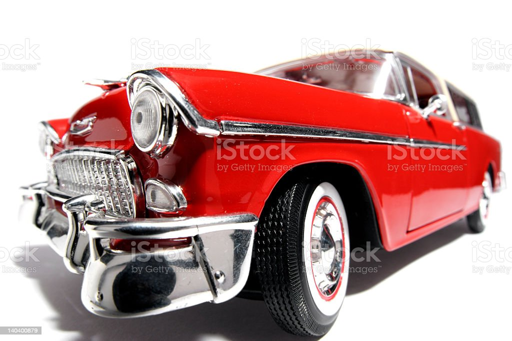 Fisheye view of shiny red classic US toy car stock photo