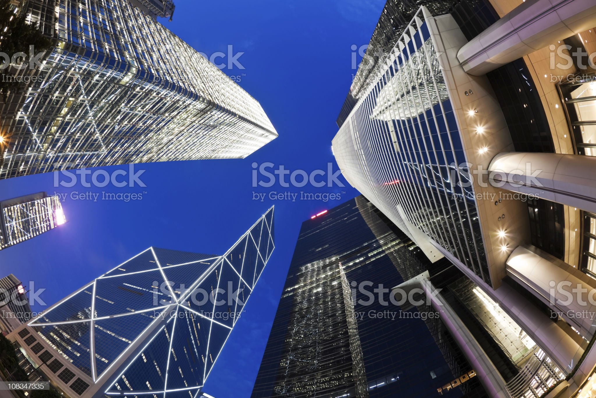 Fisheye view of skyscrapers royalty-free stock photo