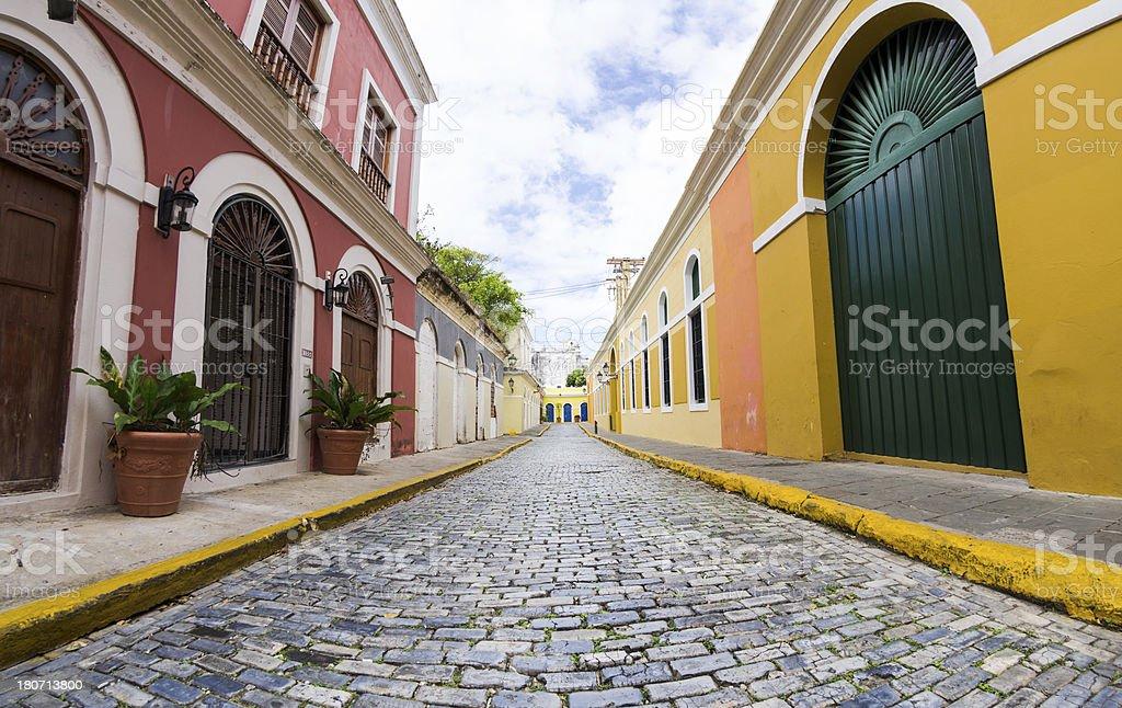 Fisheye view of street in Old San Juan, Puerto Rico stock photo