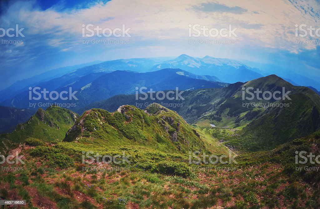 Fish-eye  view of the beautiful landscape stock photo