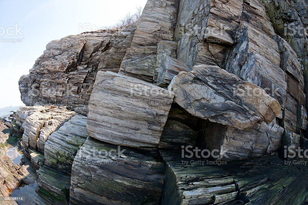 Fisheye view of the rocky Maine coast stock photo