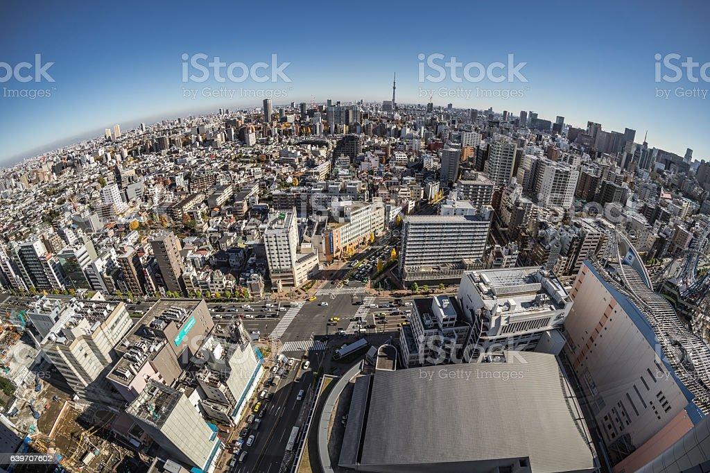 Fisheye View of Tokyo stock photo