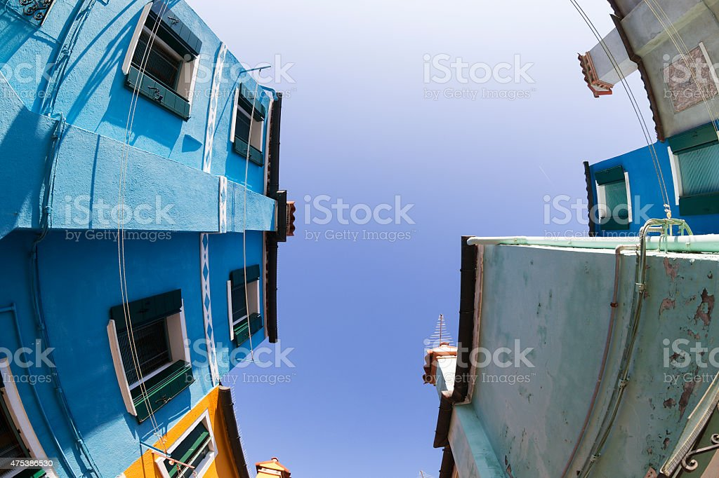 Fish-eye view of Traditional Colorful Buildings in Venice, Italy stock photo