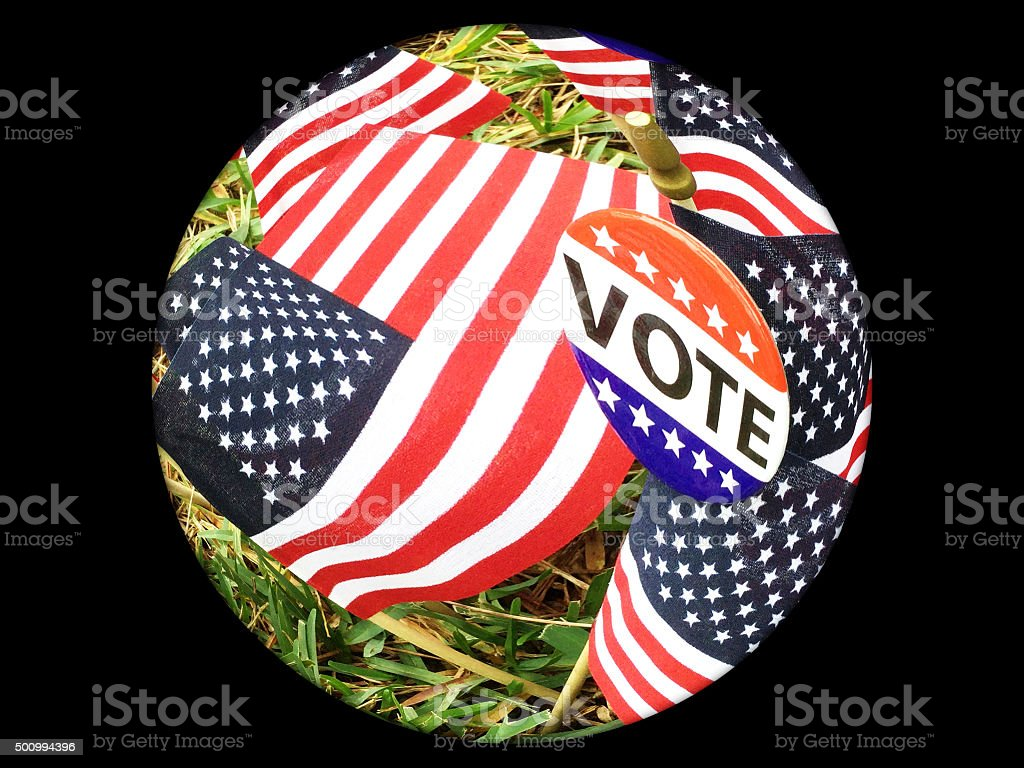 Fisheye view of VOTE campaign button on USA flags stock photo