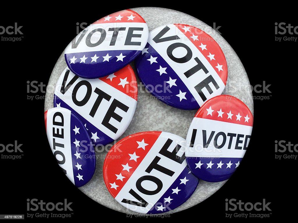 Fisheye view of VOTE campaign buttons stock photo