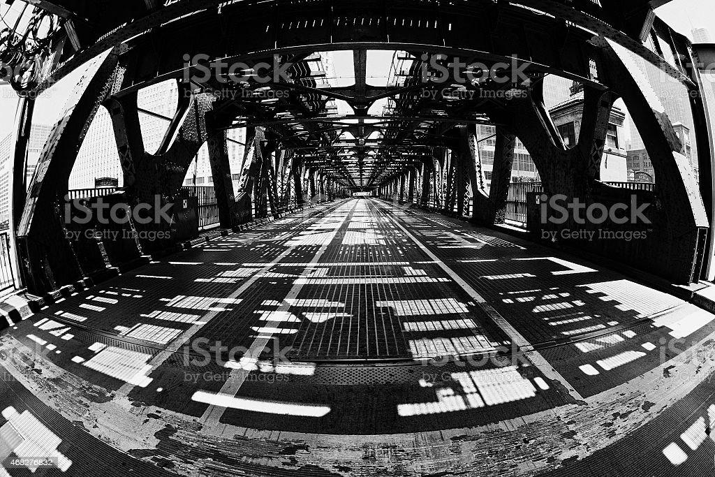 Fisheye view of Wells Street Bridge, Chicago stock photo