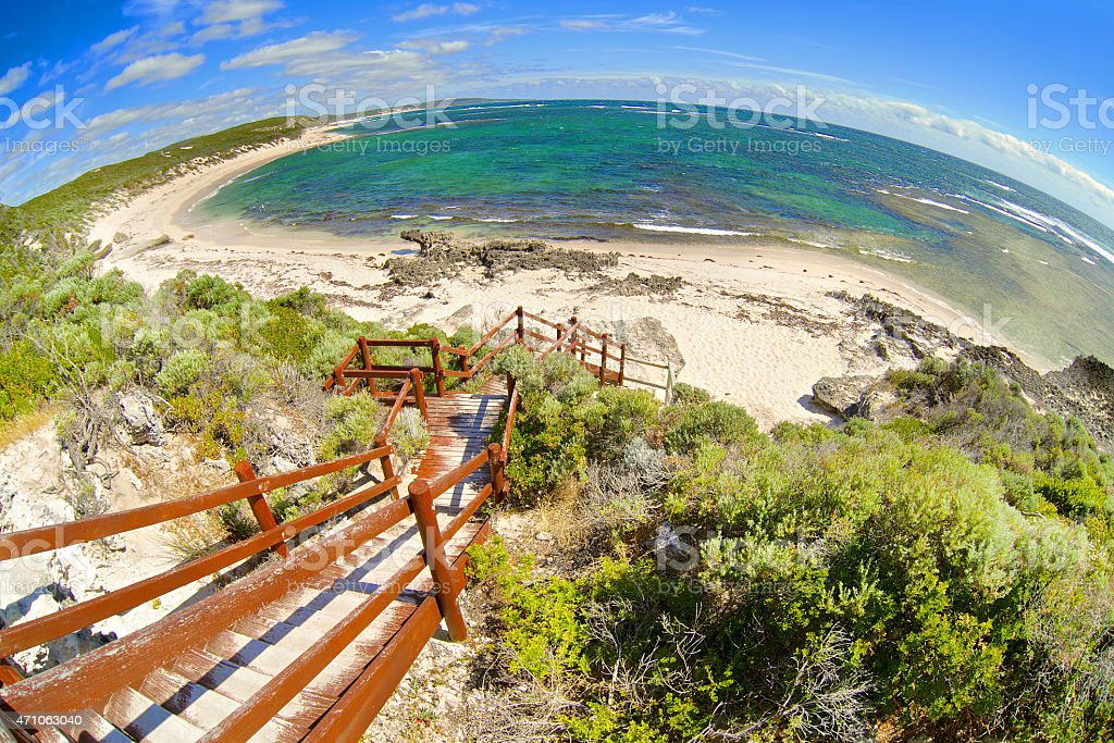 Fish-eye view on tropical beach and ocean stock photo