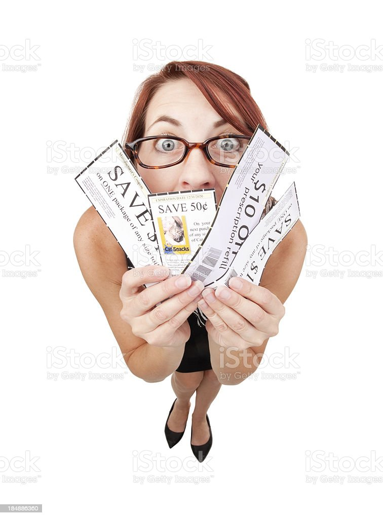 Fisheye Woman Holding Coupons royalty-free stock photo