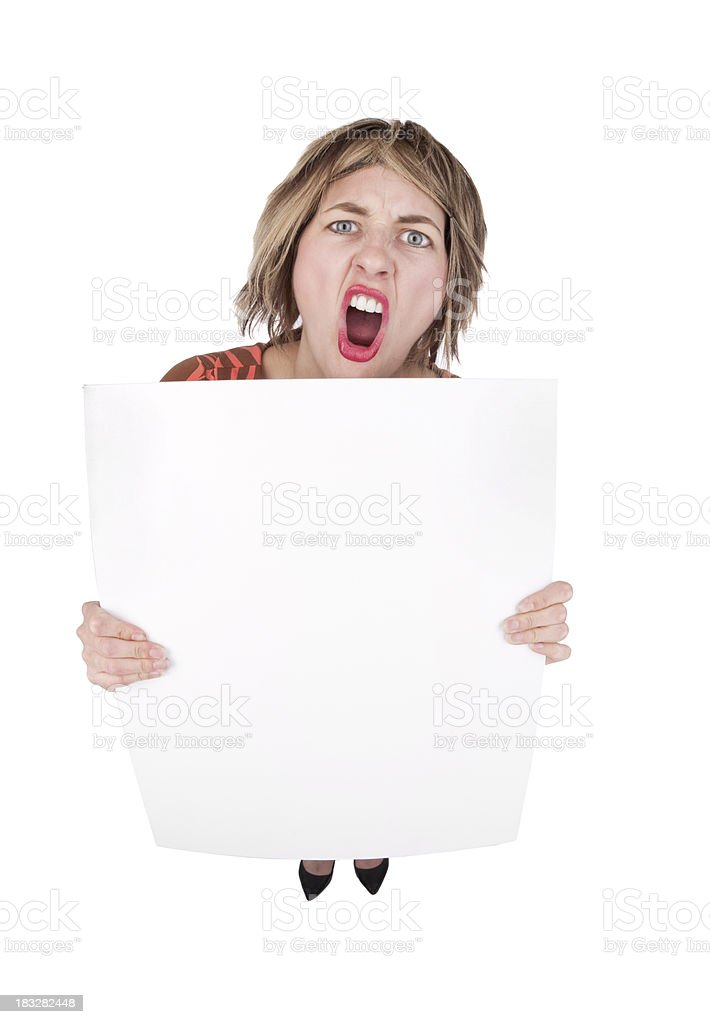 Fisheye Woman Protester With Blank Sign royalty-free stock photo