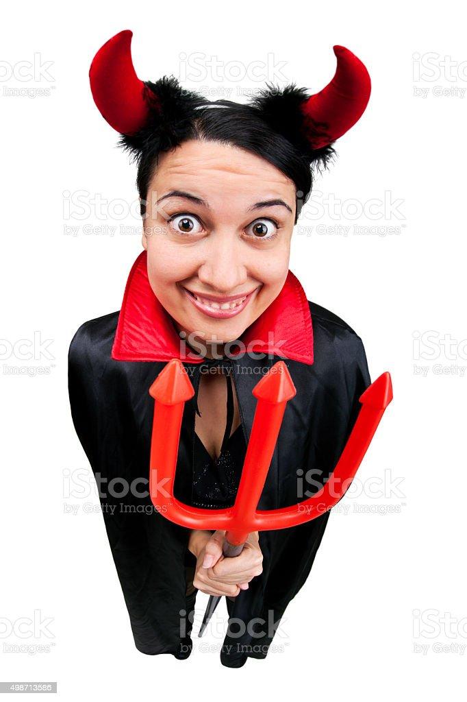 Fisheye Woman Wearing Devil Costume stock photo