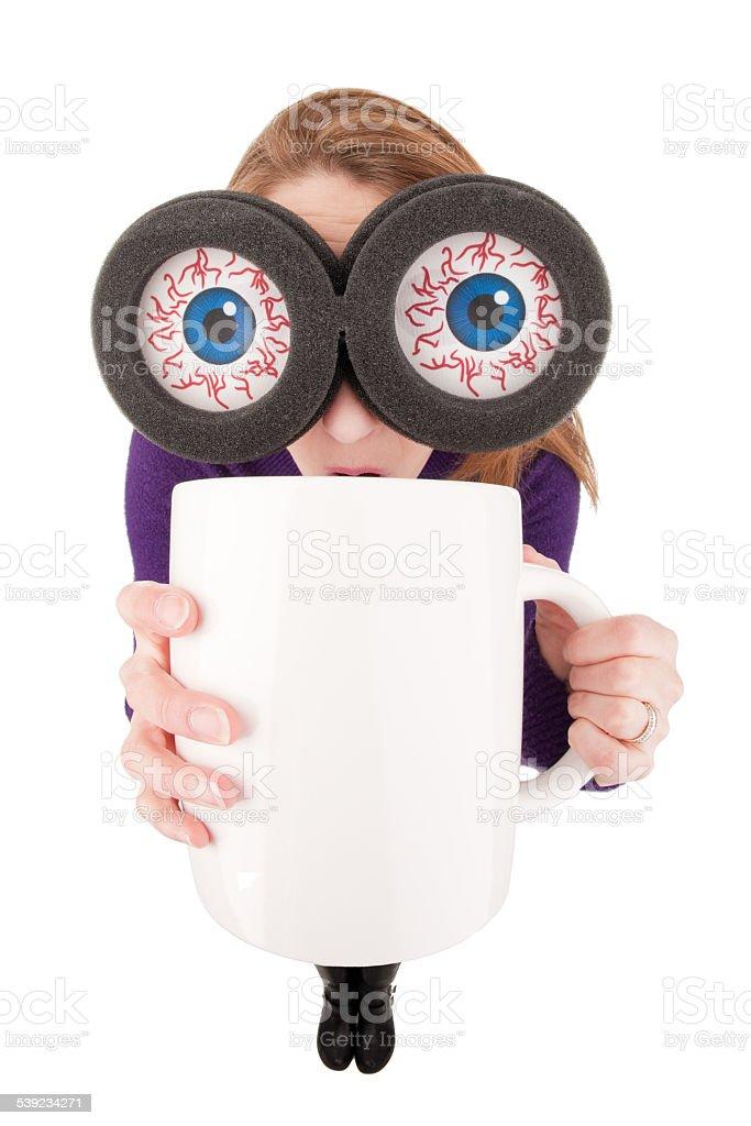 Fisheye Woman With Big Eyes Drinking Extra Large Coffee stock photo